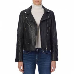 Bolongaro Trevor Black Ella Leather Biker Jacket - £89 knitted sweatpants