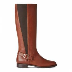 knee high boots Hobbs London Nicole Buckle Boot Tan Vitello Long Boot - £129