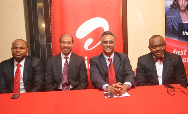 (L-R)David Umoh, Senior Manager, Data Portals, Nitin Annand , Head Of 3g,Rajan Swaroop, Md/Ceo And Emeka Oparah, Director Of Corporate Communication & Csr- All Of Airtel Nigeriaduring The Launch Of Airtel 3.75g Services On Tuesday In Lagos
