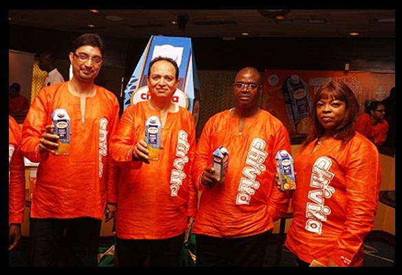 L-R. Pradeep Sharma, G.M. East; V. C. Beri, M.D/CEO; Mohammed Saliu, Divisioanal Sales Manager, Lagos and Louis Bridget, Corporate Affairs Manager, all of Chi Ltd at the unveiling of the new Chivita 750ml Pack.