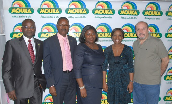 Head of Commercial, Mouka Limited, Mr. Jude Abonu, Head, Human Resource/Admin, Lagos State Lotteries Board, Mr. Michael Folarin, Compliance Officer, Lagos State Lotteries Board, Mrs. Toyin Daramola, Managing Director, Mouka Limited, Mrs. Peju Adebajo and Member, Board of Director, Mouka Limited, Mr. Jonaah Moukarim during the Live Draw of Dream Destination Promo to pick lucky winners at the Corporate Office, Ikeja on Tuesday, February 14, 2012