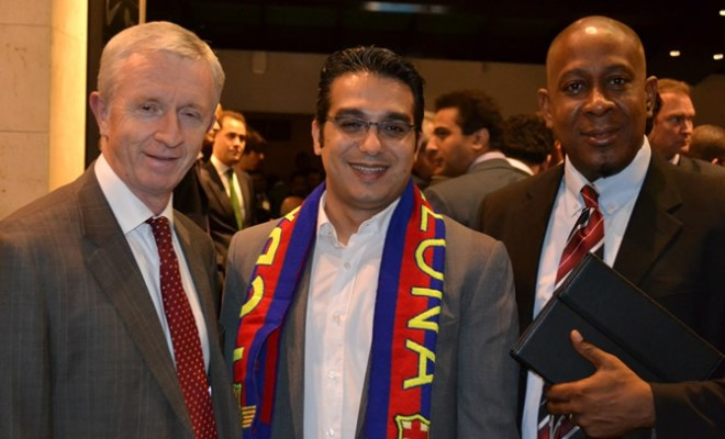 L-R Chief Executive Officer, Steven Evans; Chief Commercial Officer, Wael Ammar,and Manager, Compliance, Government and Regulatory Affairs, Damian Udeh, all of Etisalat Nigeria during the Etisalat Mobile World Congress reception at Camp Nou, Barcelona Spain on Tuesday 27th
