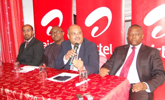 Ninti Amand, GM, 3G and New Product Development, Emeka Oparah, Director, Corporate Communications and CSR,Deepak Srivastava,Chief Operating Officer and Executive Director and Bayo Osinowo, Lagos Regional Director, Airtel Nigeria at the launch of Airtel's Electronic Recharge Card Voucher