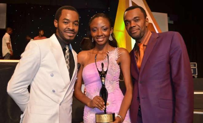 Ivie Okujaye, Award winner (middle) flanked by first AMBO winner, O.C Ukeje (left) and Wale Ojo, during the presentation of th