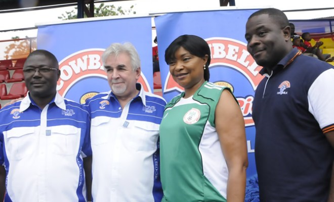 (L - R) - Dudu Orumen, Managing Director, Multisports Services & Entertainment Limited; Chief Keith Richards, Managing Director of Promasidor Nigeria; Aisha Falode, Renowned Sport Journalist; and Kachi Onubogu, Marketing Director of Promasidor Nigeria, at the official launch of Cowbell Football Academy