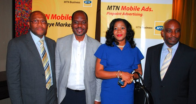 L-R: Chief Enterprise Solutions Officer, Mr. Babatunde OSho; Customer Relations Executive, Mr. Akin Braithwaite; General Manager, Enterprise Sales, Mrs. Onyinye Ikenna-Emeka; and General Manager, Enterprise Marketing, Mr. Oladipo Nylander, all of MTN Nigeria at the launch of MTN Mobile Ads.application in Lagos, today, Wednesday, 13 June, 2012.