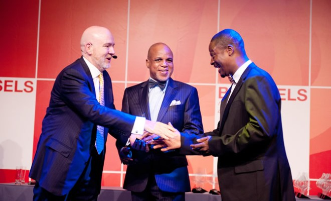 (L-R)Paul Holmes, Founder & CEO, The Holmes Report and the SABRE Awards Biodun Shobanjo, Chairman,Troyka and Bolaji Okusaga, Managing Director,The Quadrant Company receiving award for 'African Consultancy of the Year'