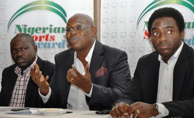 L-R The Managing Director, MasterSports International Mr Ejiro Omonode,the Chairman of the Award Panel, Mr. Ikeddy Isiguzo and the General Manager Unmissable Incentives Limited Mr. Kayode Idowu at the Press conference to Unviel the Nigerian Sports Award held at Protea Hotel,Maryland,Lagos