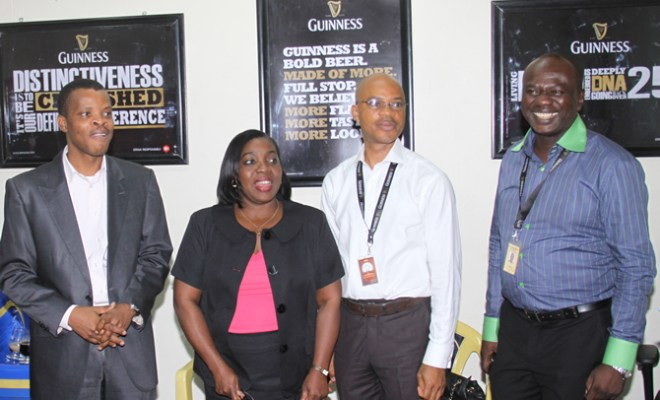 L-R: Sesan Sobowale, Director, Corporate Relations, Ngozi Ife-Anene, Corporate Communications Manager, Mike Onuoha, Head, Public Policy and Emmanuel Umaru, Brand Assurance Manager, all of Guinness Nigeria Plc at DRINKIQ Media Workshop organized by the company at its Corporate Headquarter in Lagos