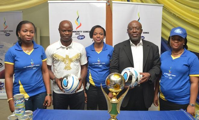 From Left: Mrs Wande Oluwasegunfunmi, Head of Marketing, Nutricima Ltd, (R), Yomi Ifaturoti, Director, Corporate Communications, PZ Cussons, Mr Mutiu Adepoju, Ex-Super Eagles' Midfield Maestro, Mrs Wande Oluwasegunfunmi, Head of Marketing, Nutricima Ltd, Mr Seyi Akinwunmi, Chairman, Lagos Football Association, and Mrs Chiaka Eluchie, Senior Brand Manager, Olympic Milk at the media parley for the kick-off of the Community Games, in Lagos