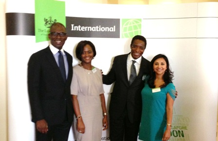 L-R: Olasupo Shasore SAN; Bimpe Nkontchou; Yemi Candide-Johnson SAN and Megha Joshi, Executive Secretary/CEO, all Directors of Lagos Court of Arbitration, at the recently held 2013 International Marketplace Conference organized by the Law Society, London