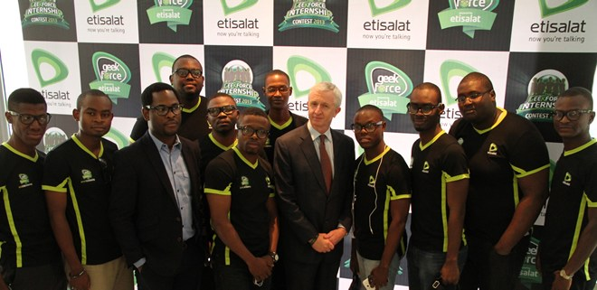 Director, Brands & Communication, Etisalat Nigeria, Enitan Denloye (3rd left); Chief Executive Officer, Etisalat Nigeria, Steven Evans (5th left) with the Top 10 Etisalat Geek Force Interns, at the unveiling of the Interns, held at Wheatbaker Hotel, Ikoyi, Lagos