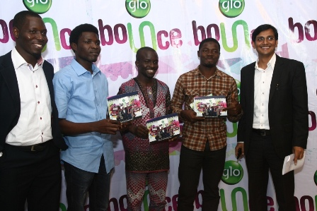 GLO BOUNCE EXCITES YOUTH LEADERS: From left, Glo's Head, Youth Segment, Sola Arowogbadamu, Chairman, Council of Faculty Presidents, University of Lagos, Nelson Oluwafisayo, SUG President, YABATECH, Afeez Babalola, Ex-SUG President, LASU, Agbomeji Ibrahim and Glo's GM, Consumer Marketing, Ashutosh Tiwary at the launch of Glo Bounce in Lagos on Saturday.