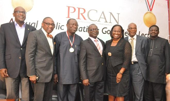 L-R, Mr. Lolu Akinwunmi, Chairman APCON, Mr. Yomi Badejo-Okusanya, Secretary General, African Public Relations Association (APRA) and CEO CMC Connect, Dr. Kayode John Fayemi, Executive Governor of Ekiti State, Mr. Chido Nwakanma, President PRCAN, Mrs. Bunmi Oke President AAAN, Prof. Emevwo Biakolo of Pan-Atlantic University and Chairman of the occasion; and Mr. Femi Adesina President, Nigerian Guild of Editors.
