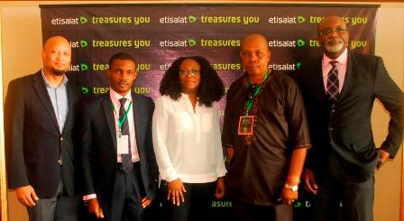 (L-R): Director Customer Care, Etisalat Nigeria, Plato Syrimis; Etisalat customer, David Ikechukwu; Head Customer Experience & Retention, Etisalat Nigeria, Biola Edun; Etisalat customer, Giwa Michael and Head, Core & VAS Operations, Etisalat Nigeria, Joseph Ani, at the Etisalat Customer Forum, held at Oriental Hotel Lagos