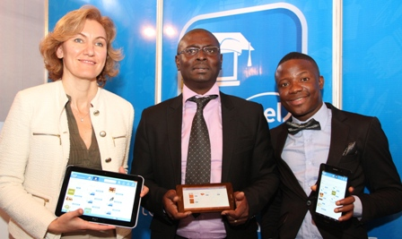 Director for Business Development, Intel Middle East and Africa, Cigdem Ertem; Country Manager, Intel West Africa, Bunmi Ekundare and Nigerian Entertainer/Comedian, Bash at the launch of the Intel Explore and Learn Marketplace