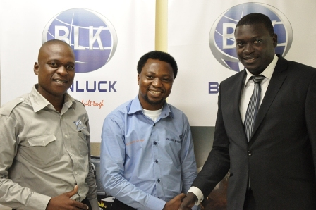 (L-R) Chief Executive Officer, Diesel Tech Workshops Nigeria, Bongani Dube; Managing Director, BonluckBus Nigeria Limited, Friday Sylvanus Yenge and the Vehicle and Asset Finance Manager, StanbicIBTC Bank, Olukorede Arowojolu at the introduction of BonluckBus in Lagos