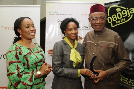 (L-R): CEO/Lead Consultant, ThistlePraxis Consulting Limited, Ini Onuk; Director, Leadership & Organisation, Etisalat Nigeria, Rabi Isma and Chairman, Council of West African Examinations Council (WAEC), Professor Pai Obanya, at the ThistlePraxis Sustainable Conversation, sponsored by Etisalat Nigeria, held at Four Point by Sheraton