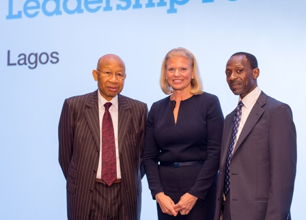 L- R - Dr. Pascal G. Dozie, Chairman, MTN Nigeria Limited; Ginni Rometty, IBM Chairman, President and CEO and IBM West Africa Country General Manager, Taiwo Otiti.