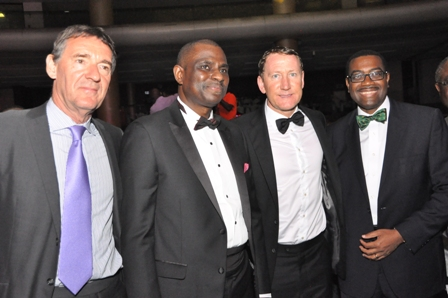 L-R, Leading British Economist, Terence James O'Neill; Managing Director and Chief Executive Officer, Airtel Nigeria, Segun Ogunsanya; Arsenal Legend and Ex-England international, Ray Parlour and the Honourable Minister of Agriculture and Rural Development, Dr. Akinwunmi Adesina at the unveiling of the prestigious Airtel Premier Club in Lagos on Sunday