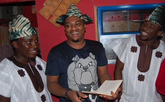(L-R) Partner Ofada Boy Incorporation, Akinlade Temitayo, Deputy Director of Education Oduduwa Junior Secondary School, Mushin District 6, Oluwamitoyin Oki and the Chief Executive Officer Ofada Boy Incorporation at the opening of Soup Lounge a subsidiary of Ofada Boy Incorporation in Lagos.