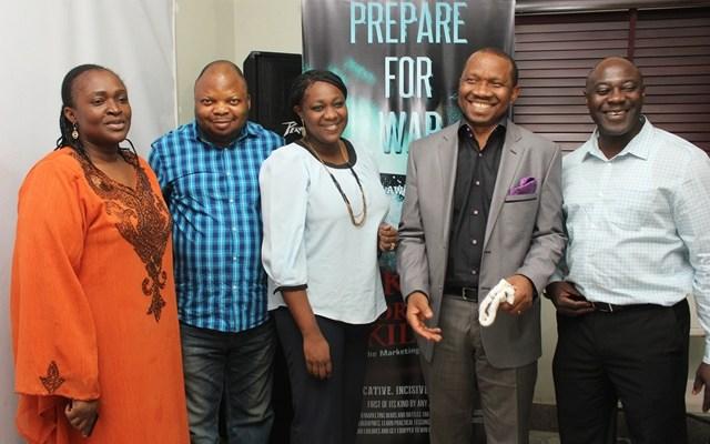 "Wife of the Author, Mrs. Oyeyemi, Reviewer/CEO, Marketing Mix, Akin Adeoya, Executive Director, ADVAN, Ediri Orogun, the Author, ""Kill or get Killed"", Kolawole Oyeyemi and a guest at the media presentation in Lagos."