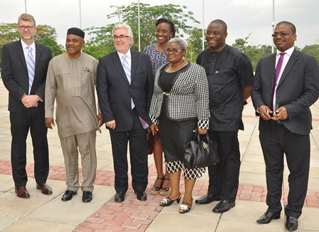 (L-R): Mr. Olivier Thiry, Managing Director, Promasidor Nigeria Limited; Miss Adesina Deborah O winner of the award for the Junior Secondary Schools; Governor (Dr.) Godswill Akpabio of Akwa Ibom State; Master Akintokun Adegboyega, winner of the award for the Senior Secondary Schools; and Chief Keith Richards, Chairman, Promasidor; at the dinner organised for winners of the 2014 Cowbell National Secondary Schools Mathematics Competition in Uyo, Akwa Ibom State on Thursday