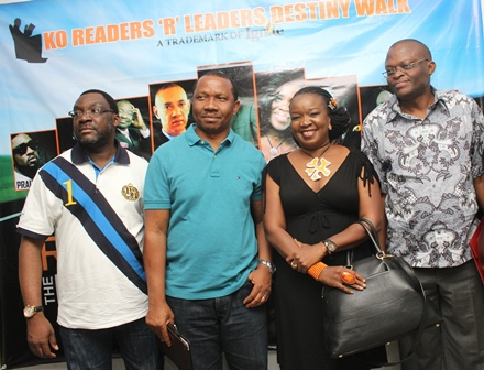 L-R, Former Managing Director, National Mirror, Steve Ayorinde; the convener of Destiny Walk, Kola Oyeyemi; Chief Executive Officer, Spicy Chrysalis, Adaeze Adolphy, and the Managing Director, ThisDay Newspaper, Eniola Bello, at the ReadersRLeaders Destiny Walk to create awareness for reading, last weekend, in Anthony Village, Lagos.