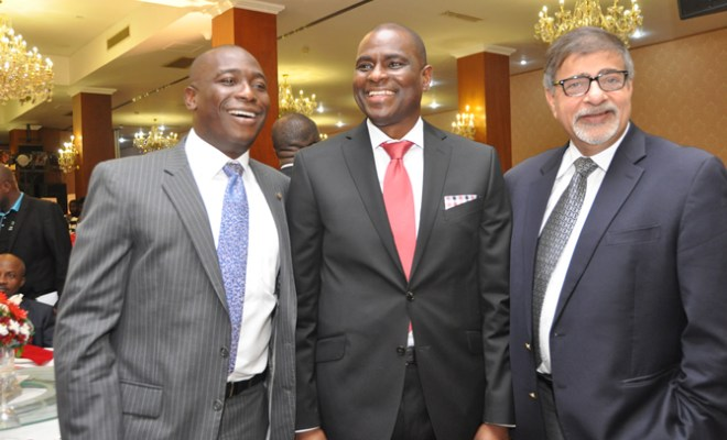 L-R: Adeola Adetunji, MD, Coca Cola Nigeria, Segun Ogunsanya CEO & MD, Airtel Nigeria and Sunil Sawhney, MD, Seven Up Bottling Co Plc at the premiere of Airtel Touching Lives, recently at the Oriental Hotel, Lekki, Lagos.