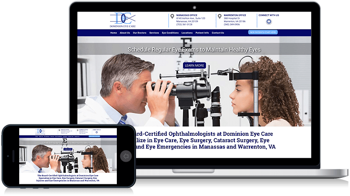 Dominion Eye Care in Manassas VA and Warrenton VA website design