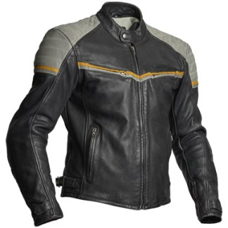 Halvarssons Eagle Leather Motorcycle Jacket in Black and Grey