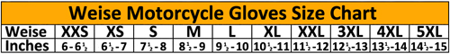 Weise Motorcycle Gloves Sizing Chart