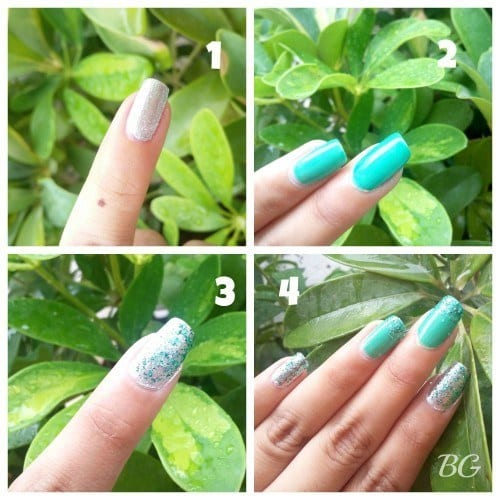 Collage 500x500 Nail Art Tutorial 5 Minutes Easy Diy Green Sparkles