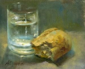 Vettä ja leipää - juoda ja syödä.