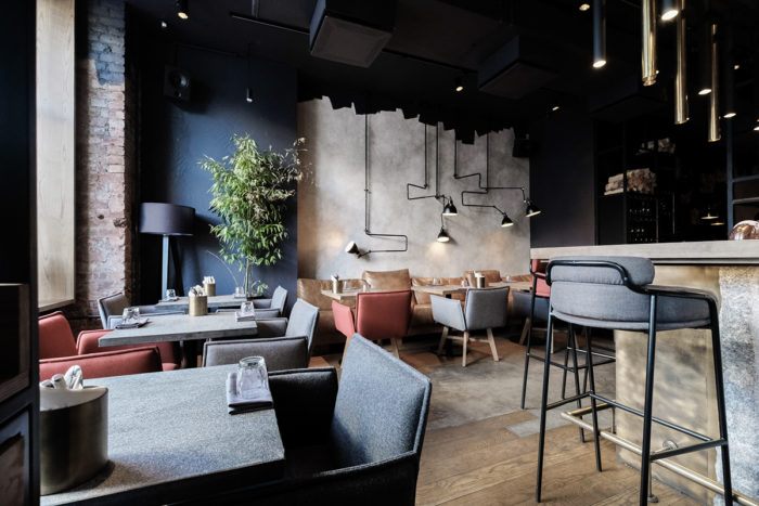 Simple cozy beautiful restaurant interiors branding