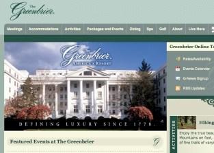 Screenshot of Greenbriar resort website