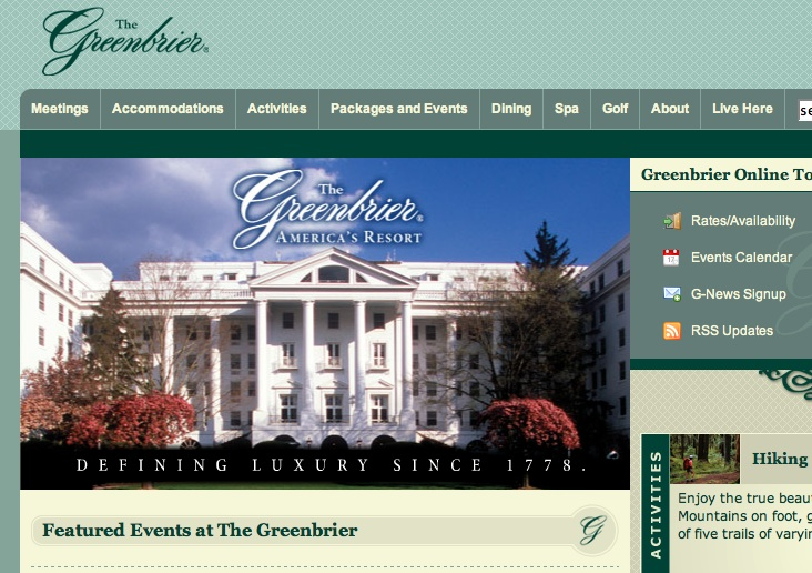 Greenbrier Hotel website screenshot