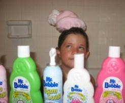 Mr. Bubble in the tub