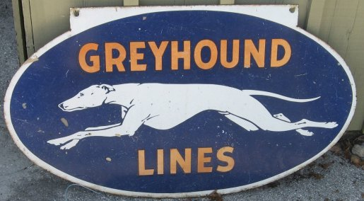 Greyhound sign from the store