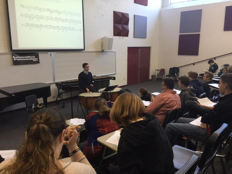 Presenting a Timpani Technique Tricks & Tips clinic at the 2016 Campbellsville University Percussion Ensemble Festival