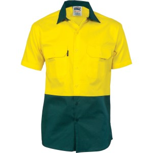 Two tone cotton drill shirt short sleeve