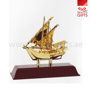 Golden Dhow, custom and ready made metal and crystal trophies and awards.www.brandsgifts.ae