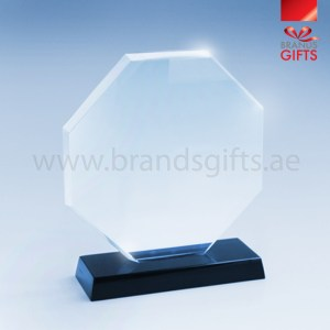Octagon Shaped Crystal Trophy Award. Custom Printed With Your Design, Trophies UAE Supplier, Abu Dhabi Dubai, Sharjah. www.brandsgifts.ae