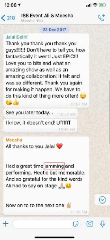 Ali Zafar Shares Screenshot of Meesha Shafi's Message