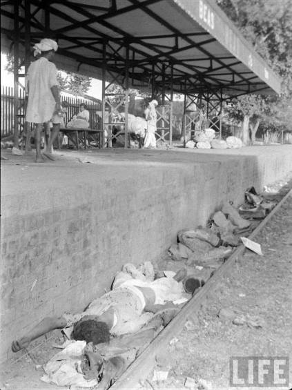 People sleeping at a railway station whilst migration of 1947