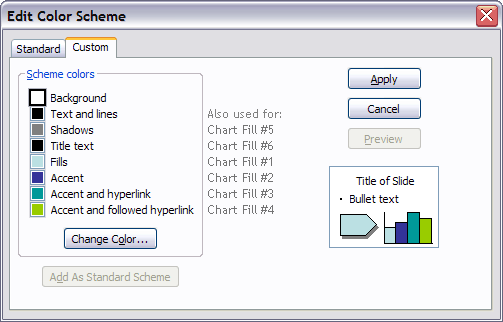 PowerPoint 2003 Colors in Office Charts