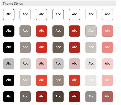 Flat Theme Shape Styles