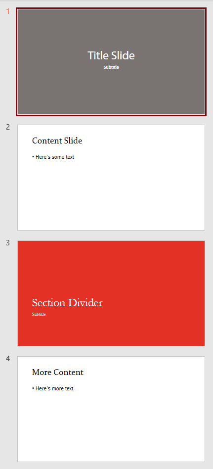 4 slides from 3 masters