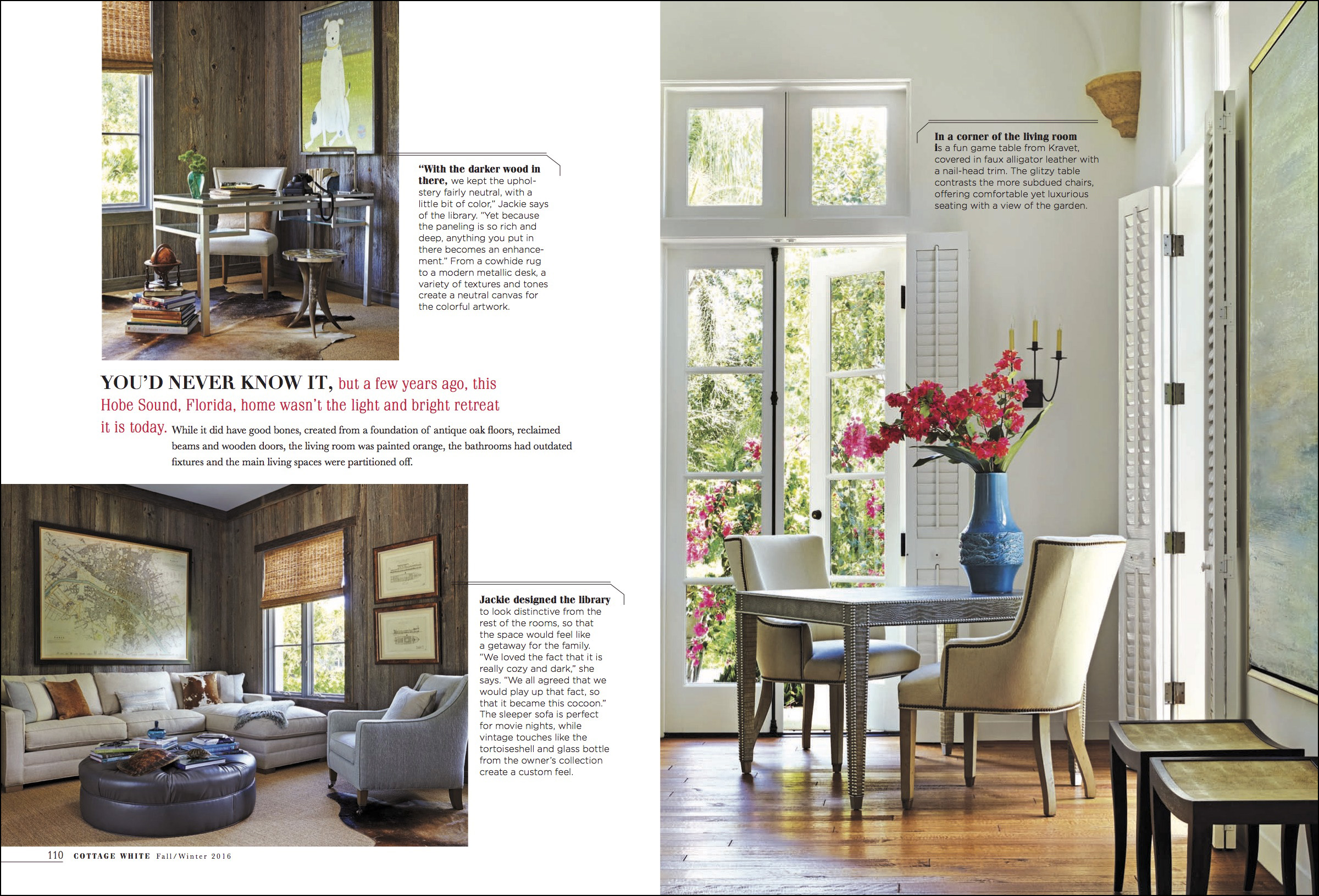 cottage white magazine design article, hobe sound home