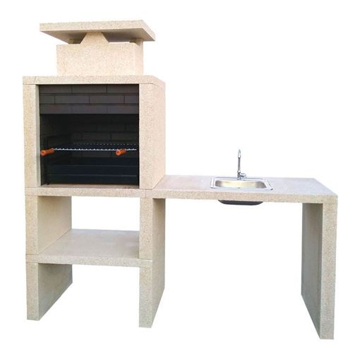brick bbq working balcony with sink and tabletop grill cs609